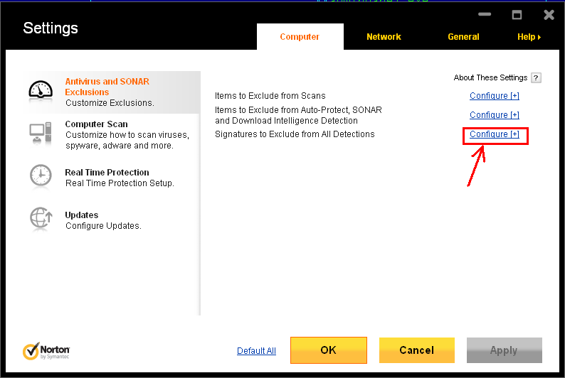 Norton Settings Dialog