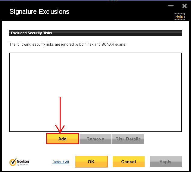 Norton Signature Exclusions Dialog