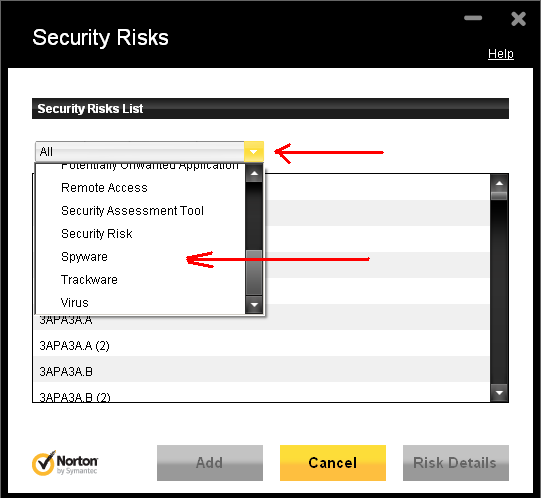 Norton Security Risks Dialog