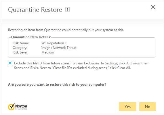 Quarantine Restore dialog