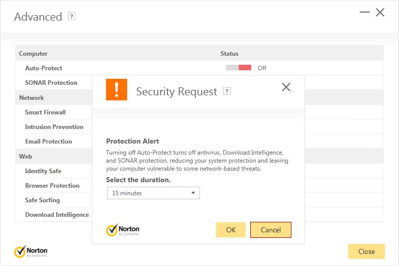 Norton Security Advanced dialog