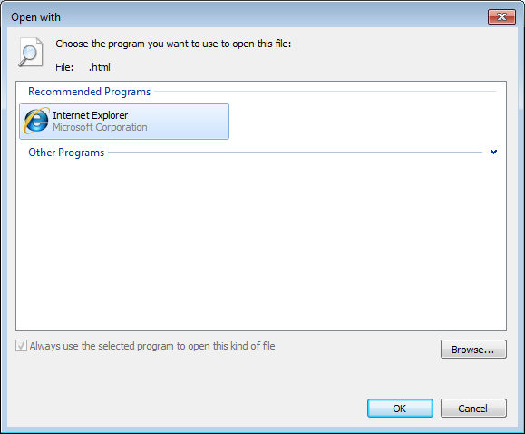 Open with dialog Windows 7. Change html.