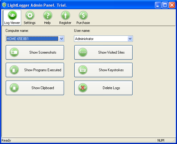 LightLogger Keylogger Log View Tab