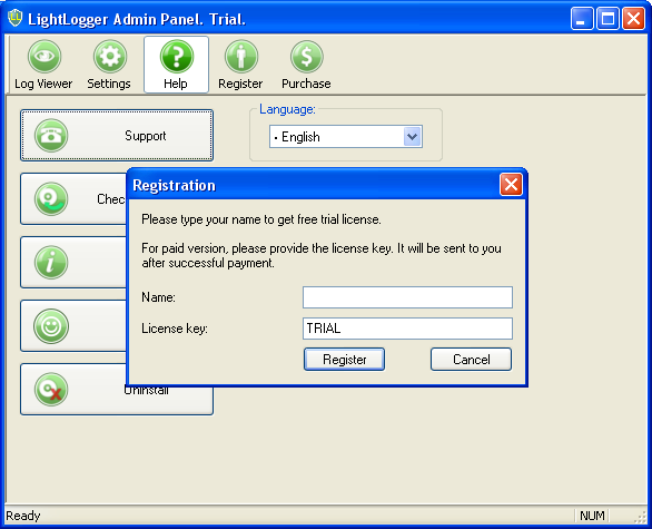 LightLogger Keylogger Registration Window